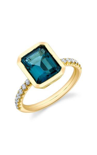 Shirley 18K Yellow Gold Topaz, Diamond Ring