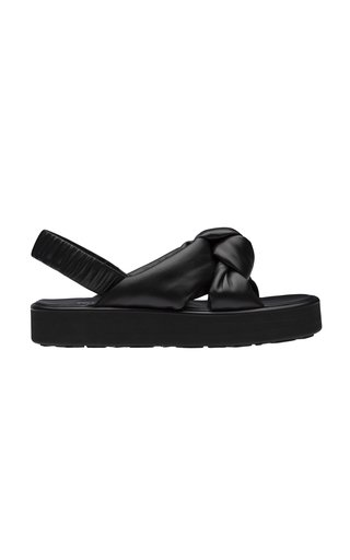 Puffly Leather Flatform Sandals