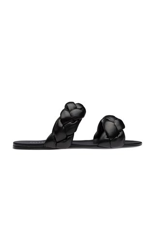 Puffy Braided Nappa Leather Slides