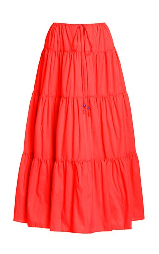 Lucca Tiered Shell Midi Skirt
