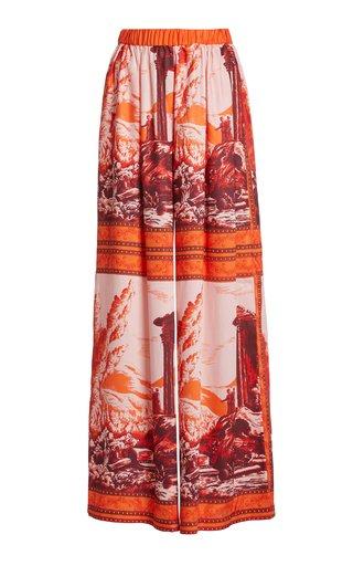 Ionic Printed Twill Wide-Leg Pants