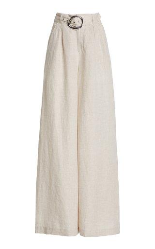 Eris Belted Linen Wide-Leg Pants