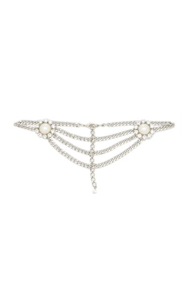 Crystal and Pearl-Embellished Chain Belt