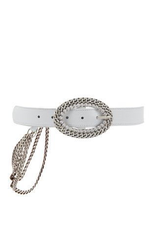 Crystal Chain Buckle Leather Belt