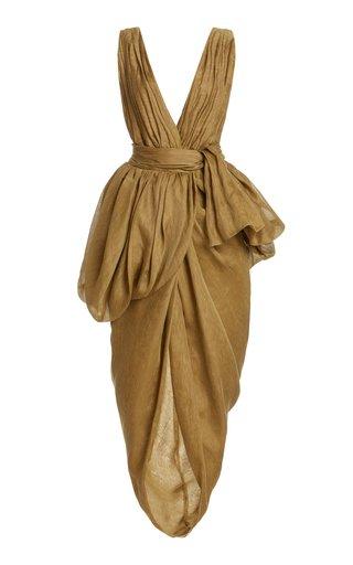 Canna Draped Linen-Silk Midi Dress