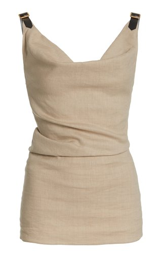 Zaria Linen-Blend Buckle-Detail Tank Top