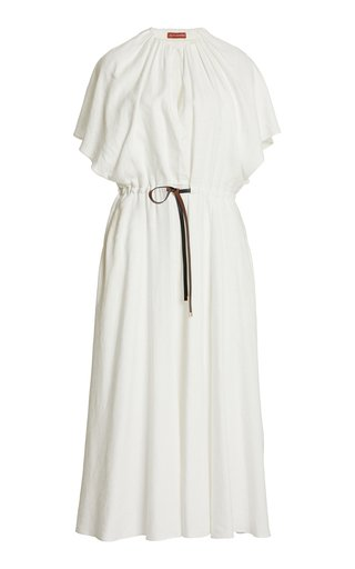 Romy Belted Linen-Blend Midi Dress