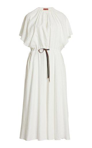 Romy Belted Linen-Blend Midi Dress