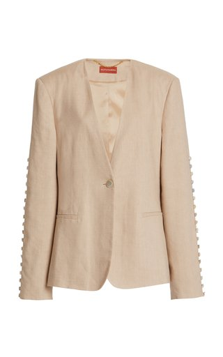 Fern Linen-Blend Button Jacket