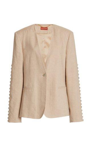 Fern Linen-Blend Button Jacket