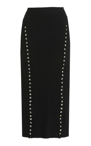 Marilla Button-Detailed Knit Midi Skirt