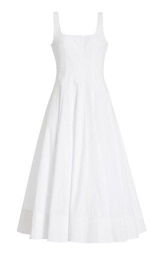 Wells Paneled Cotton-Poplin Midi Dress