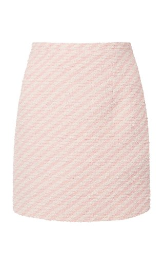 Striped Cotton-Blend Tweed Mini Skirt