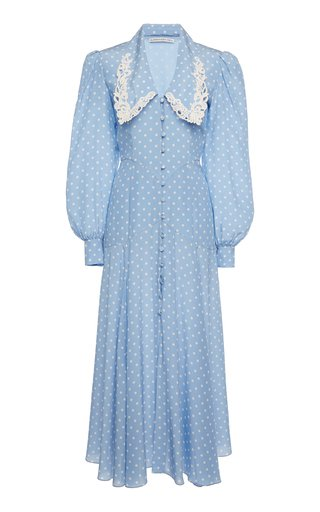 Lace-Trimmed Polka-Dot Silk Midi Dress