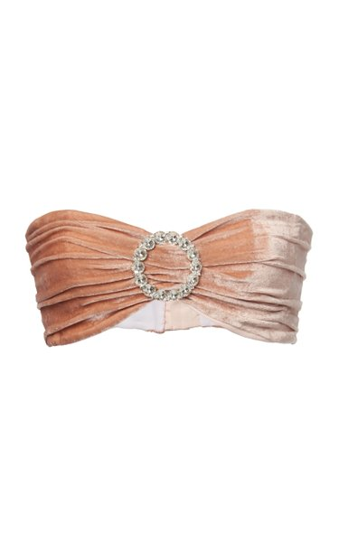 Embellished Silk-Velvet Bandeau Top