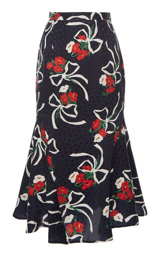 Floral Silk Jacquard Midi Skirt