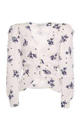 Rose-Printed Silk Collarless Jacket