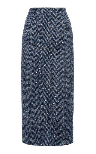 Sequined Cotton-Blend Herringbone Midi Skirt