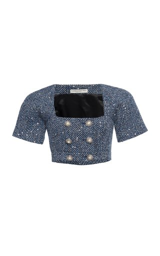 Sequined Cotton-Blend Herringbone Cropped Top