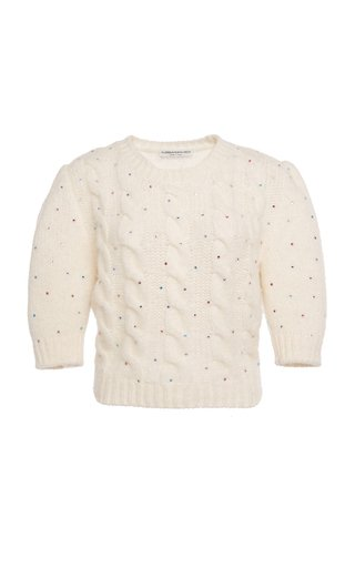 Embellished Alpaca-Blend Cable-Knit Cropped Sweater
