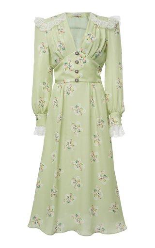 Lace-Trimmed Floral-Print Silk Midi Dress
