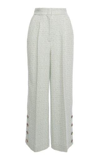 Sequined Wool-Blend Tweed Wide-Leg Pants