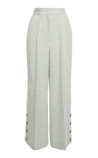 Sequined Wool-Blend Tweed Wide-Leg Pants