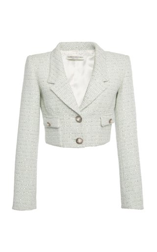 Sequined Wool-Blend Tweed Cropped Blazer