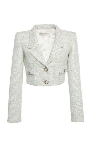 Sequined Wool-Blend Tweed Cropped Blazer