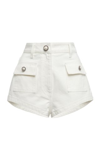 Cotton-Drill Mini Shorts