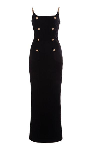 Chain-Detailed Velvet Maxi Dress