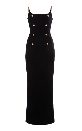 Chain-Detailed Velvet Maxi Dress