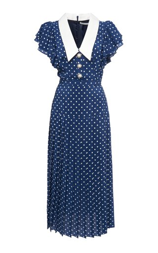 Ruffled Polka-Dot Silk Midi Dress