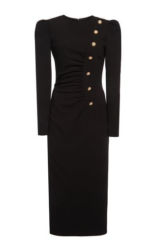 Crystal-Embellished Stretch-Wool Crepe Midi Dress