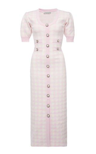 Gingham Jacquard-Knit Midi Dress