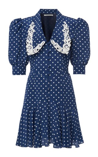 Embroidered Polka-Dot Silk Mini Dress