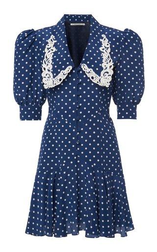 Embroidered Polka-Dot Silk Mini Dress
