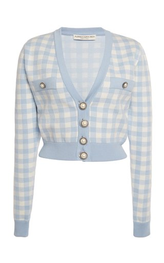 Gingham Jacquard-Knit Cropped Cardigan
