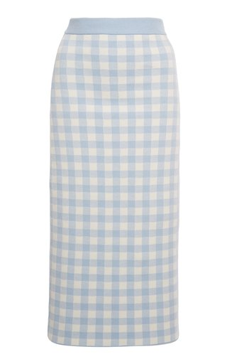 Gingham Jacquard-Knit Midi Skirt