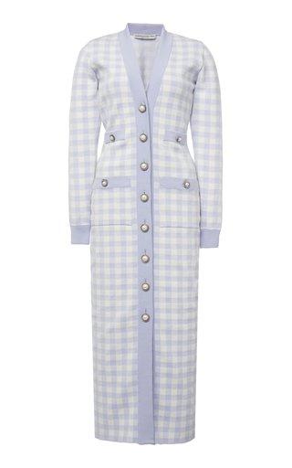 Gingham Cotton Blend Knitted Long Sleeved Dress