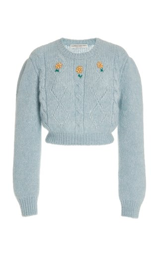 Floral-Embroidered Cable-Knit Cropped Sweater