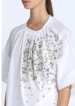 Embellished Sleeve Poplin Top