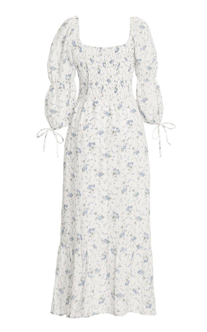 Marita Floral Print Linen Midi Dress