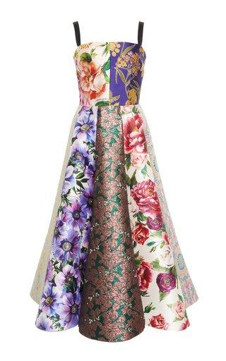 Patchwork Silk-Blend Jacquard Midi Dress