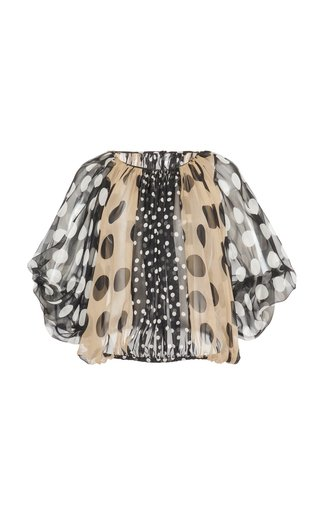 Puff-Sleeve Printed Silk Chiffon Top