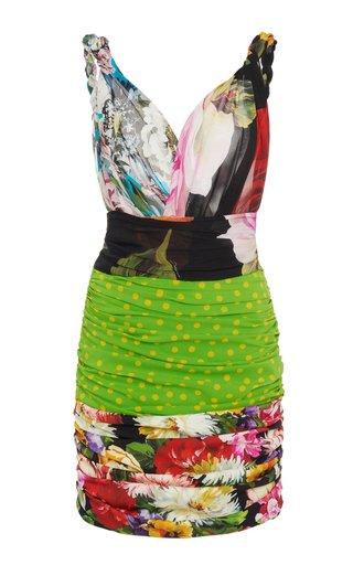 Ruched Patchwork Stretch-Silk Mini Dress