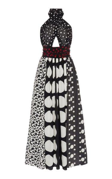 Patchwork Silk Chiffon Midi Halter Dress
