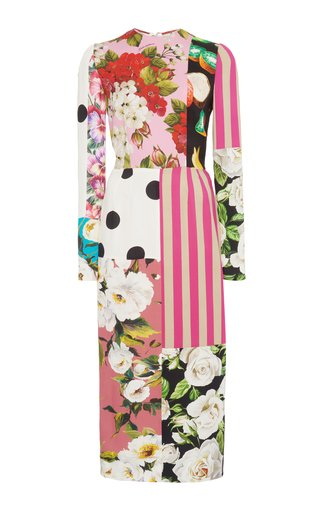 Patchwork Stretch-Silk Charmeuse Midi Dress