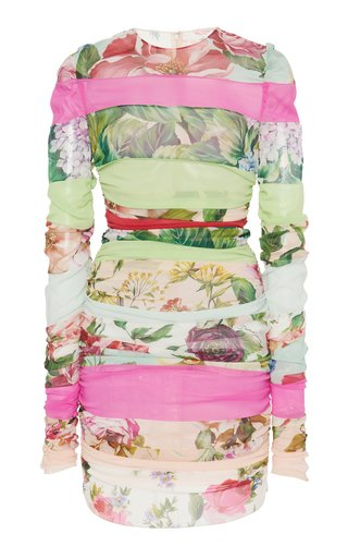 Ruched Patchwork Stretch-Silk Chiffon Mini Dress