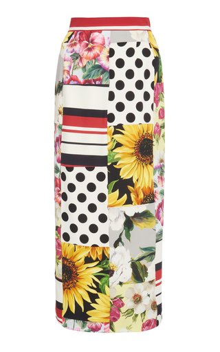 Patchwork Stretch-Silk Midi Skirt